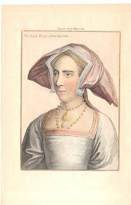 Lady Mary Queen Hand Tinted 1901 Gravure Antique Art Print Hans Holbein RARE