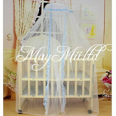 Hot Sale Baby Infant Mosquito Net Toddler Bed Crib Canopy Cot Blue Edged CA