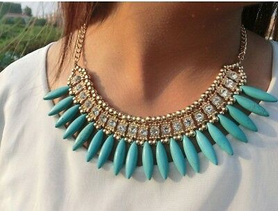 Fashion Jewelry Graceful Blue Resin Tassels Rhinestone Elegant Choker Necklace
