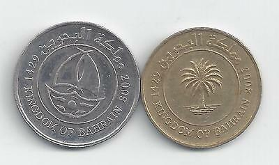2 DIFFERENT COINS from BAHRAIN - 10 & 50 FILS (BOTH 2008)..50 FILS w/ SHIP