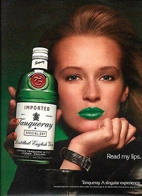TANQUERAY English GIN Green Lipstick READ MY LIPS Liquor AD Advertisement 1989