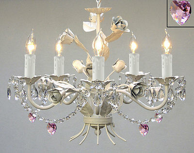 WHITE IRON CRYSTAL CHANDELIER LIGHTING W/ PINK CRYSTAL HEARTS & SHADES!