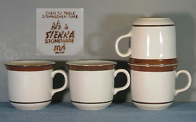 4 SIERRA STONEWARE COFFEE MUGS IN BLOOMS PATTERN BY MSI JAPAN This is a Flat Cup