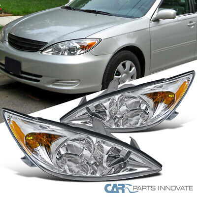 Fit 02-04 Toyota Camry LE XLE SE Clear Headlights+Amber Corner Lamps Left+Right