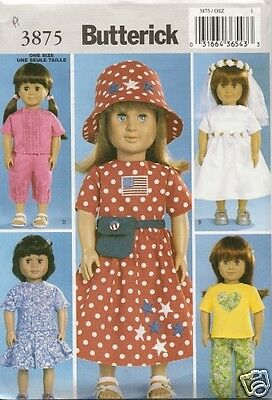 18 INCH DOLL CLOTHES NEW  SEWING PATTERN BUTTERICK 3875