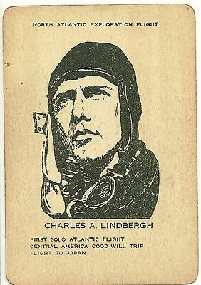 Unknown Vintage CHARLES LINDBERGH  Aviation Trading or Playing Card 1930's