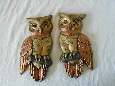 Plastercraft by Marcia chalkware owl plaques