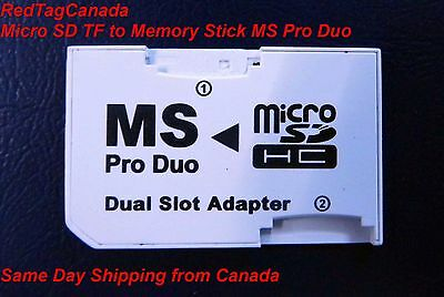 Micro SD TF to Memory Stick MS Pro Duo PSP Card Dual 2 Slot Adapter Converter M2