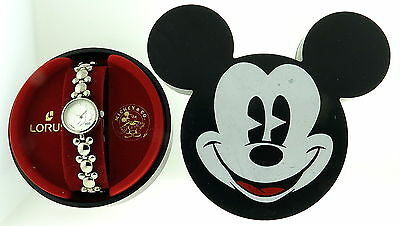Ladies Petite Mickey Mouse All Silver Toned Coin Style Lorus Watch