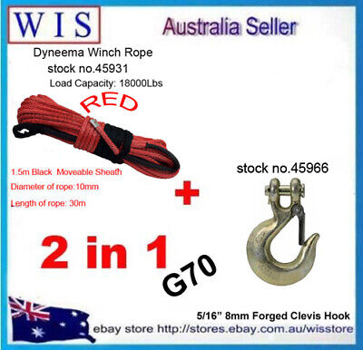 Red Dyneema Winch Rope,Synthetic Cable 10mmx30m&G70 Clevis Slip Hook with Latch