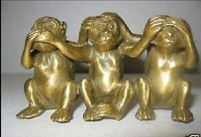 Collectibles Chinese Brass See Speak Hear No Evil 3 Monkey Small Statues