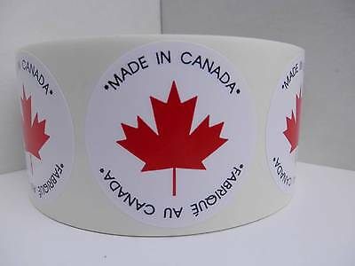 MADE IN CANADA FABRIQUE AU CANADA Circle Stickers Labels 500/roll