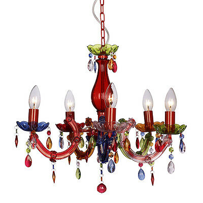 Modern Multi Coloured Marie Therese 5 Way Ceiling Light Gypsy Chandelier Lights