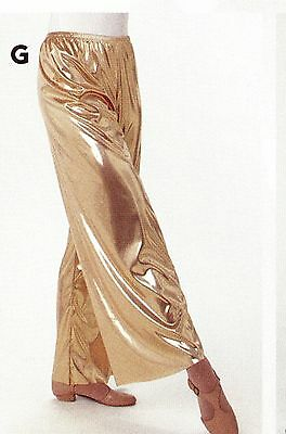 NWT Praise Dance Gold Foil Pants Wide Leg Shiny Liturgical Ladies/Girls Medium