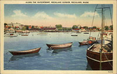 Rockland ME Along the Waterfront - Postcard