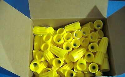 Lot Of 100 Yellow Wire Connectors   Twist On Conical Nut Nuts