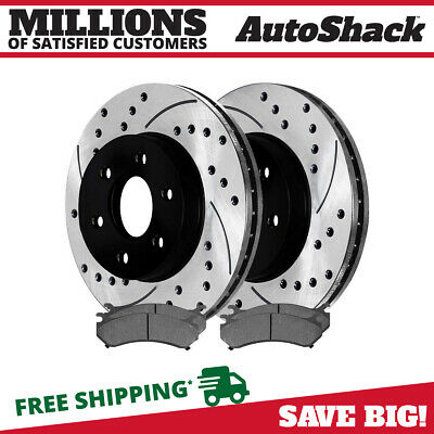 Front Pair of (2) Drilled Slotted Brake Rotors and (4) Semi Metallic Pads Set