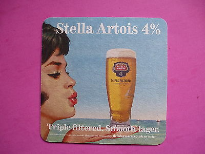 BEER Bar COASTER: Stella Artois Lager ~ Begium Brewery ~ Lady With Red Lipstick