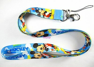 new 10pcs Disney mickey blue Mobile Phone LANYARD Neck Strap Charms M022