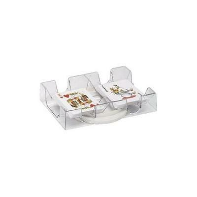 Clear Dual Deck Rotating Playing Card Tray New