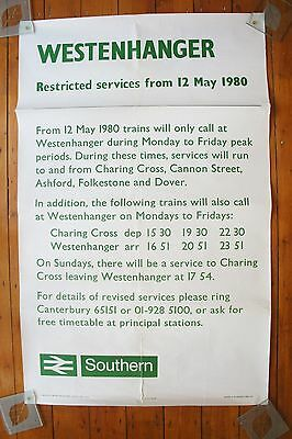 1980 Southern Region Westernhanger Original BR Railway Poster Train