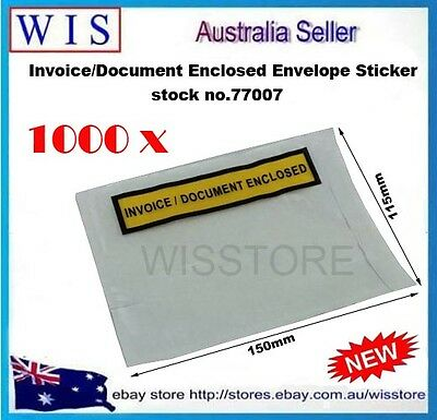 1000 x White Invoice Enclosed Pouch Document Envelope Sticker,Printed Doculopes