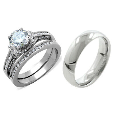 3 PCS Hers Luxury Round CZ Stainless Steel Wedding RING SET/His Matching Band