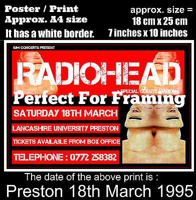 Radiohead live concert University Preston 18th March 1995  A4 size poster print