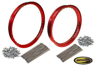 Pro Wheel Red Front and Rear Rim and Spoke Set Fits Honda Cr250 Crf450