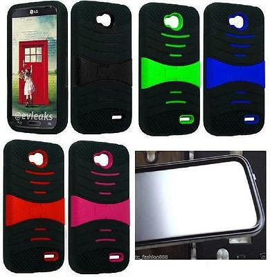 BUILT ON SCREEN PROTECTOR Faceplate Phone Cover Case For LG Optimus L90 / D415