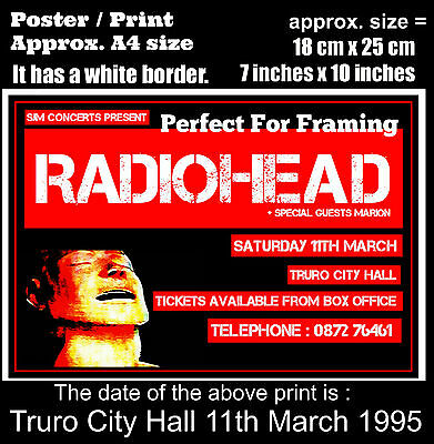 Radiohead live concert Truro City Hall 11th of March 1995 A4 size poster print