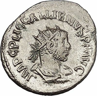 Gallienus receiving wreath from turreted figure Unlisted Ancient Rom Coin i45702