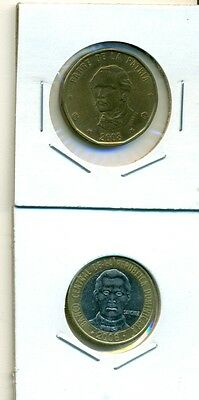 From Show Inv. - 2 NICE COINS..DOMINICAN REPUBLIC..1P & BI-METAL 5P..BOTH 2008