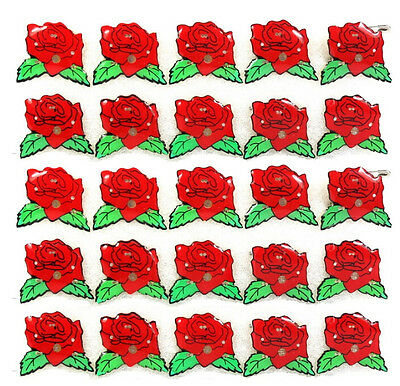 Free shipping Lot Red roses LED Flashing Light Up Badge/Brooch Pins Party Favors