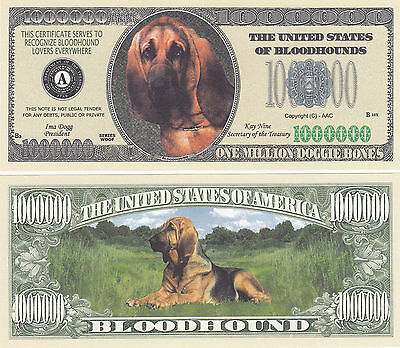 100 Blood Hound Dog Bloodhound Novelty Money Bills Lot