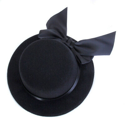 Black Mini Top Hat w/ Hair Clips Bowknot Decor Millinery Hens Night Fascinator