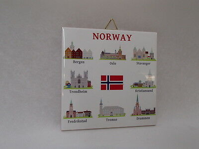 Ceramic Cork Backed Tile Trivet Hot Pad Norway Tile with Norwegian Cities