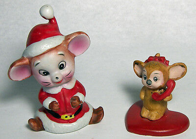2 Vintage MICE Lefton Mouse on Heart with Telephone & Christmas Elf Mouse