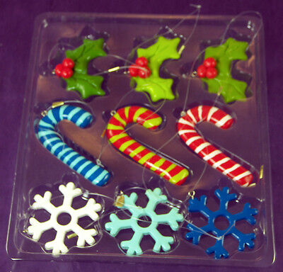 Set of 9 Small Plastic CHRISTMAS HOLIDAY ORNAMENTS in Box Target 2008