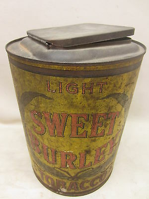 Antique Sweet Burley Light Tobacco General Store Tin 5 Cents Fine Cut Scarce Lg