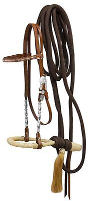 Western Horse Silver Horse Show Bosal Bridle Headstall W/ Mecate Reins