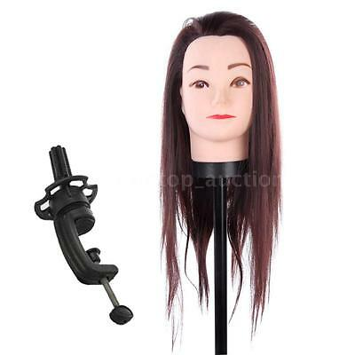 Brown Synthetic Hair Salon Hairdressing Mannequin Practice Training Head Clamp