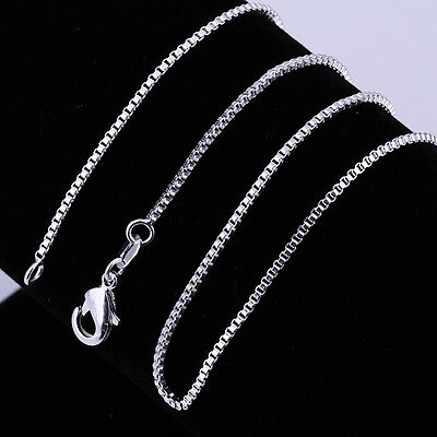 Simple 925 Sterling Silver Chain Necklace 1MM 2MM Box Chain 16-24 inch