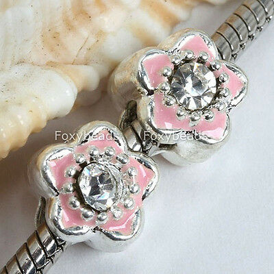 5p Silver Plated Pink Flower Enamel Spacer Beads 4mm Hole Fit Charm Bracelet DIY