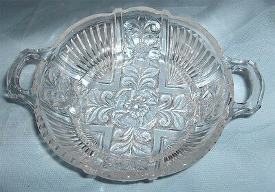 Clear Glass Relish Dish and Plate ~1950's Indiana Glass~Killarney~Open Handles