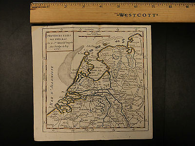1784 Color MAP of NETHERLANDS Pays-Bas Dutch Amsterdam Low-Country Vaugondy