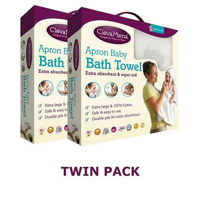 Clevamama Splash & Wrap Baby Bath Towel (White) TWIN PACK