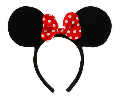 Disney Licensed Adult Child Minnie Mouse Ears Red Bow Costume Headband By Elope