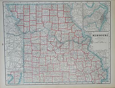 1895 Missouri Original Atlas Map^  .. 120 years-old!!