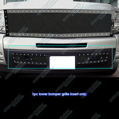 Fits 2007-2013 Chevy Silverado 1500 Stainless Black Rivet Bumper Grille Insert